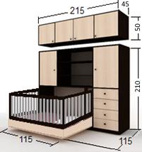 تخت تاشو نوزاد افقی با حفاظ تاشو