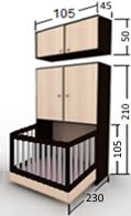 تخت تاشو نوزاد عمودی 90 با حفاظ تاشو